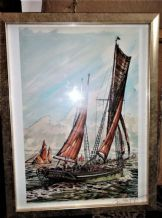 FRAMED GLAZED SIGNED PRINT TONI KNIGHTS PROVIDENT BRIXHAM RED SAILS BOAT
